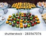 dessert on buffet line   Shutterstock . vector #283567076