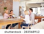 friends having a dinner party | Shutterstock . vector #283568912