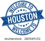 welcome to houston blue round...   Shutterstock .eps vector #283569152