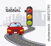 road signals over cityscape... | Shutterstock .eps vector #283571792