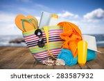 vacations  summer  beach bag. | Shutterstock . vector #283587932