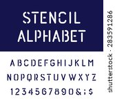 the rounded stencil alphabet... | Shutterstock .eps vector #283591286