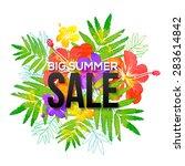 watercolor tropical flowers... | Shutterstock .eps vector #283614842