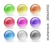 glossy buttons set. round blank ...
