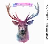 vector set of animals. deer... | Shutterstock .eps vector #283630772