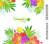watercolor summer tropical... | Shutterstock .eps vector #283632008