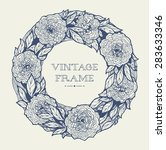 wreath of roses  peonies.... | Shutterstock .eps vector #283633346