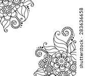 black flower corner  lace... | Shutterstock .eps vector #283636658