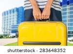 woman  travel  airport. | Shutterstock . vector #283648352