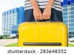 woman  travel  airport. | Shutterstock . vector #283648352