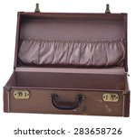 vintage suitcase open isolated