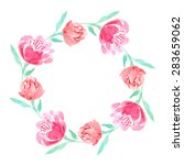 watercolor floral wreath of... | Shutterstock .eps vector #283659062