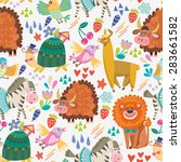 amazing adorable pattern of... | Shutterstock .eps vector #283661582