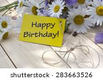 happy birthday card with daisies | Shutterstock . vector #283663526