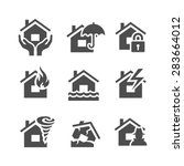 property insurance icons. home... | Shutterstock .eps vector #283664012