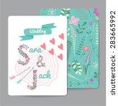set of floral greeting cards... | Shutterstock .eps vector #283665992