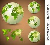 set of the world globes. world... | Shutterstock .eps vector #283670846