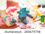 closeup painted in bright... | Shutterstock . vector #283674758