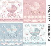 vintage baby shower set. vector ... | Shutterstock .eps vector #283678226
