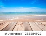 wooden terrace on sea beach in... | Shutterstock . vector #283684922