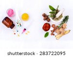 herbal medicine vs chemical... | Shutterstock . vector #283722095