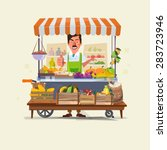 Vegetables And Fruits Cart Wit...