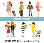 different people bright clothes ... | Shutterstock .eps vector #283732772