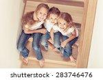 portrait of happy children... | Shutterstock . vector #283746476