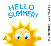 cartoon sun with summer word | Shutterstock .eps vector #283751558