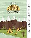 summer camp card design. vector ...   Shutterstock .eps vector #283777328