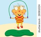 cartoon girl having fun... | Shutterstock .eps vector #28381024