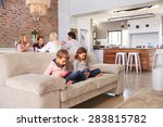 kids playing with new... | Shutterstock . vector #283815782