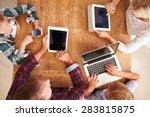 family using new technology ... | Shutterstock . vector #283815875