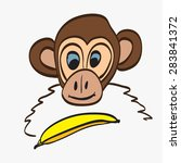 illustration of cartoon monkey | Shutterstock .eps vector #283841372