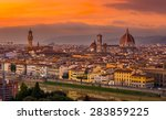 sunset view of florence with... | Shutterstock . vector #283859225