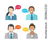 male and female call center... | Shutterstock .eps vector #283861232