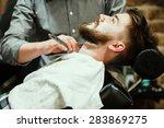 barber shaving a bearded man in ... | Shutterstock . vector #283869275