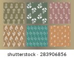 set of seamless vintage hand... | Shutterstock .eps vector #283906856