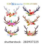vector watercolor deer horns... | Shutterstock .eps vector #283937225