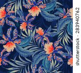 Seamless  Tropical Pattern Wit...