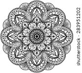 contour mandala on a white... | Shutterstock .eps vector #283951202