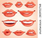 sexy lips illustration set | Shutterstock .eps vector #283952768
