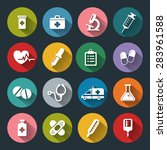 set of medical icons in flat... | Shutterstock . vector #283961588