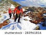 team of climbers follow a snow... | Shutterstock . vector #283961816