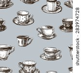 pattern of the teacups | Shutterstock .eps vector #283974728