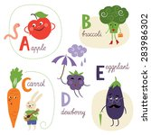 english alphabet with fruits... | Shutterstock .eps vector #283986302
