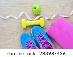 set for sports activities on... | Shutterstock . vector #283987436