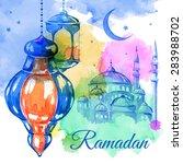 ramadan kareem. mosque night.... | Shutterstock .eps vector #283988702