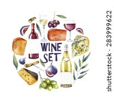 watercolor wine and cheese... | Shutterstock .eps vector #283999622