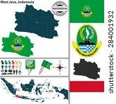 vector map of region west java...   Shutterstock .eps vector #284001932